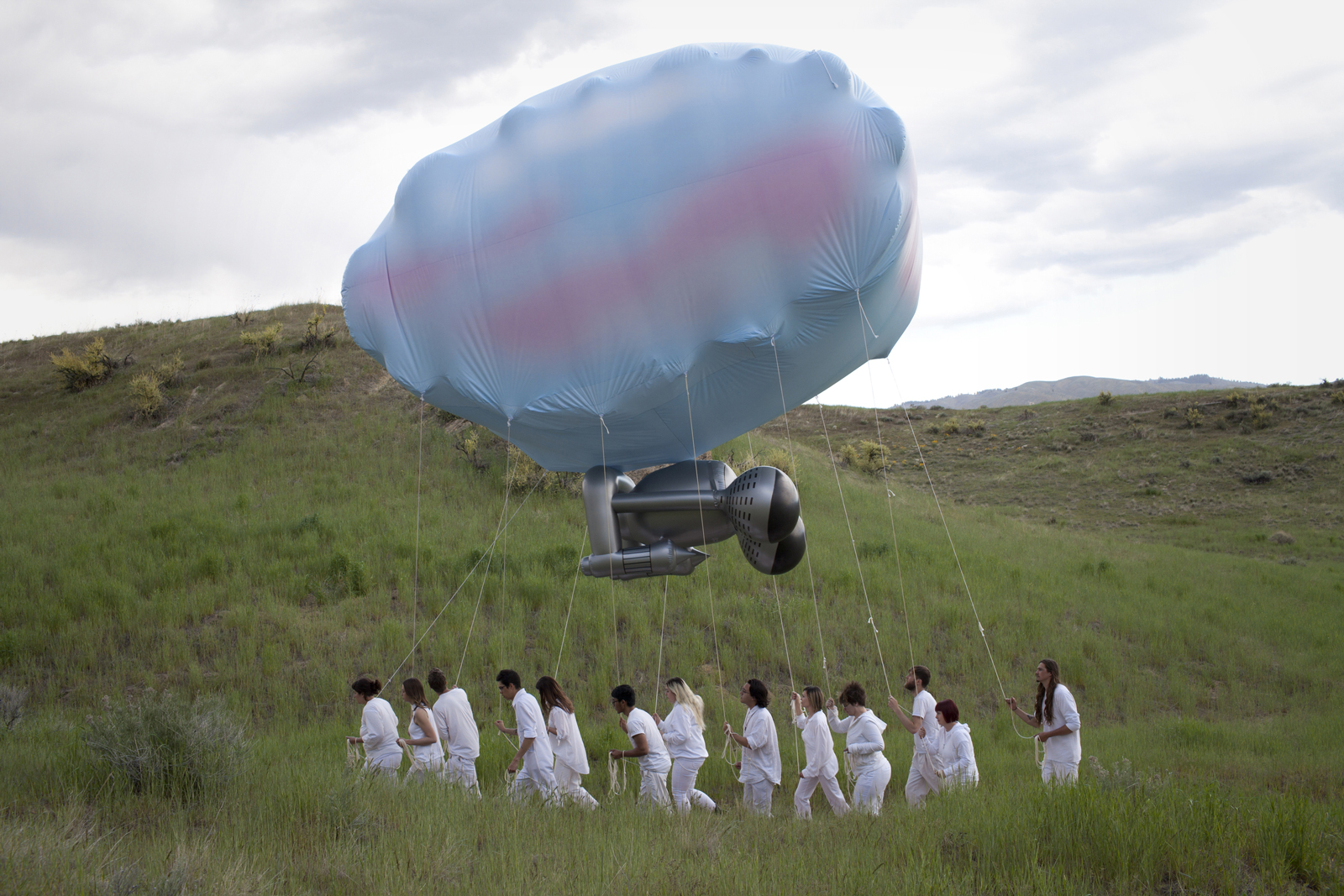 Cloudship performance art in the Boise foothills