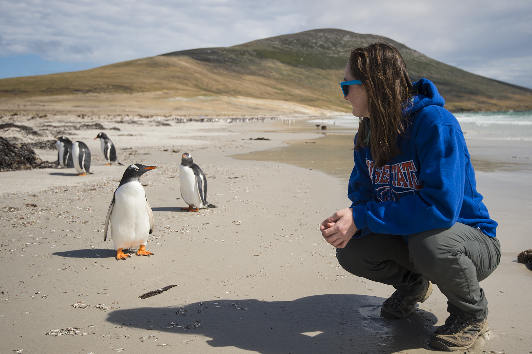 Lauren Young squatting on the beach observing penguins up close