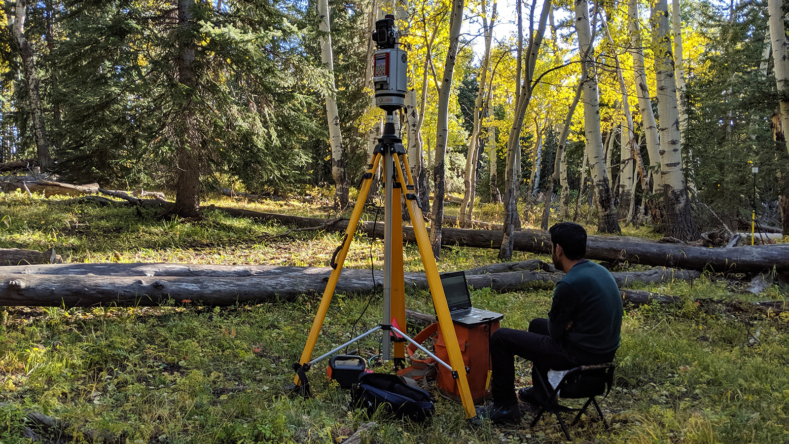 research student sits by equipment that scans trees