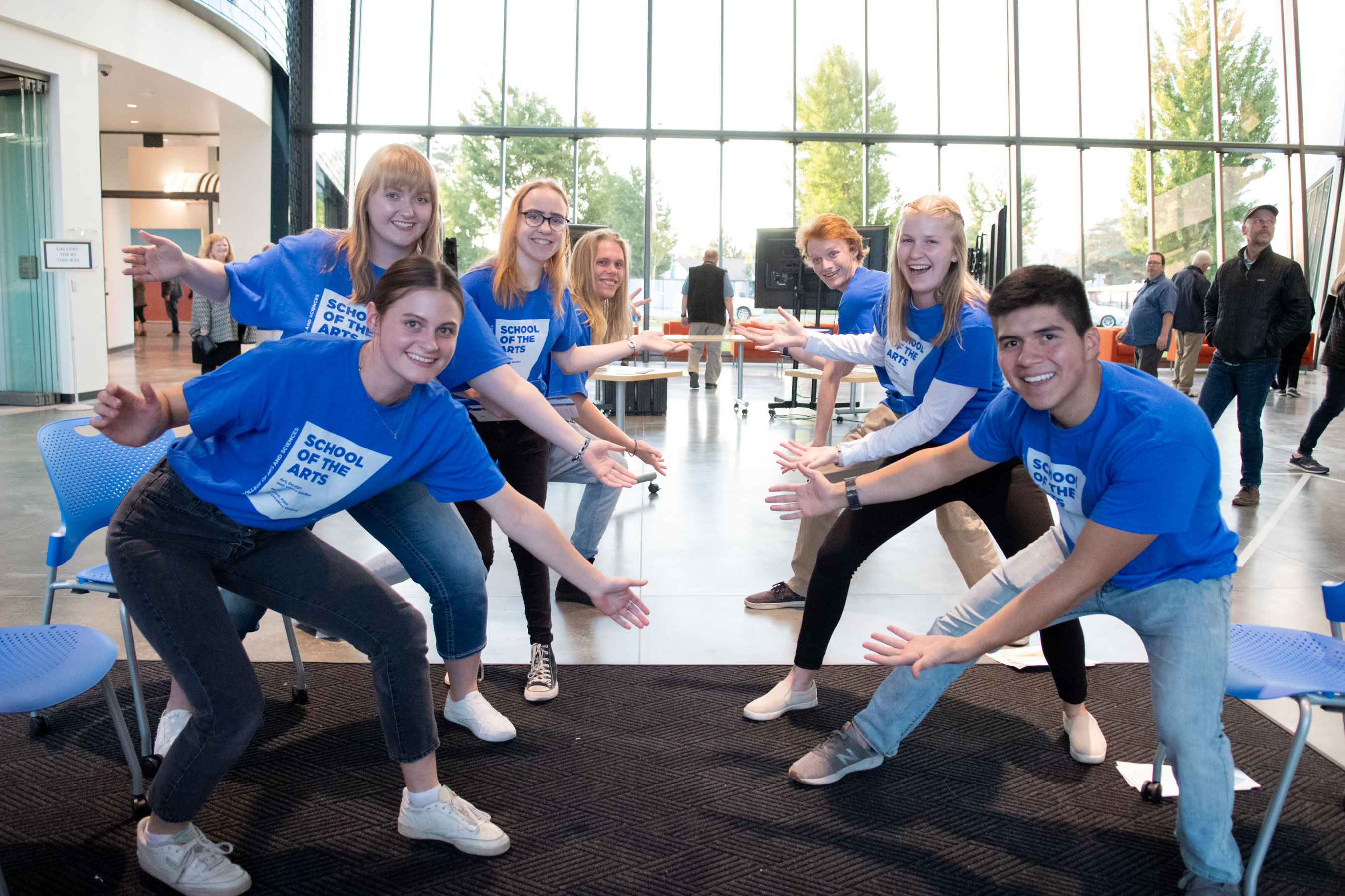 School of the Arts students pose in matching t-shirts