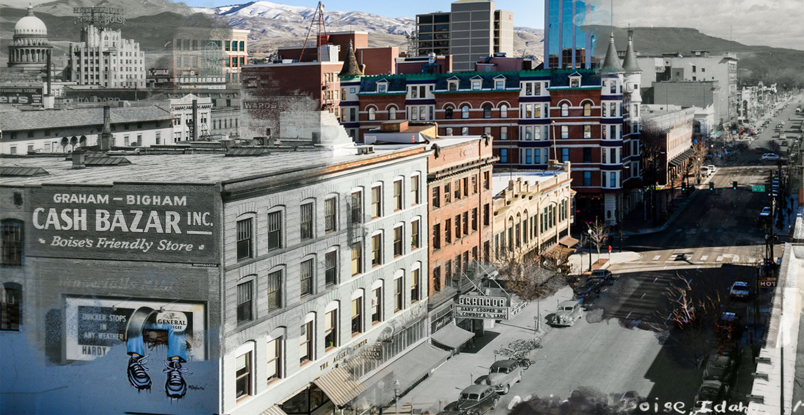 Side by side comparison of old and new Boise photos, downtown building