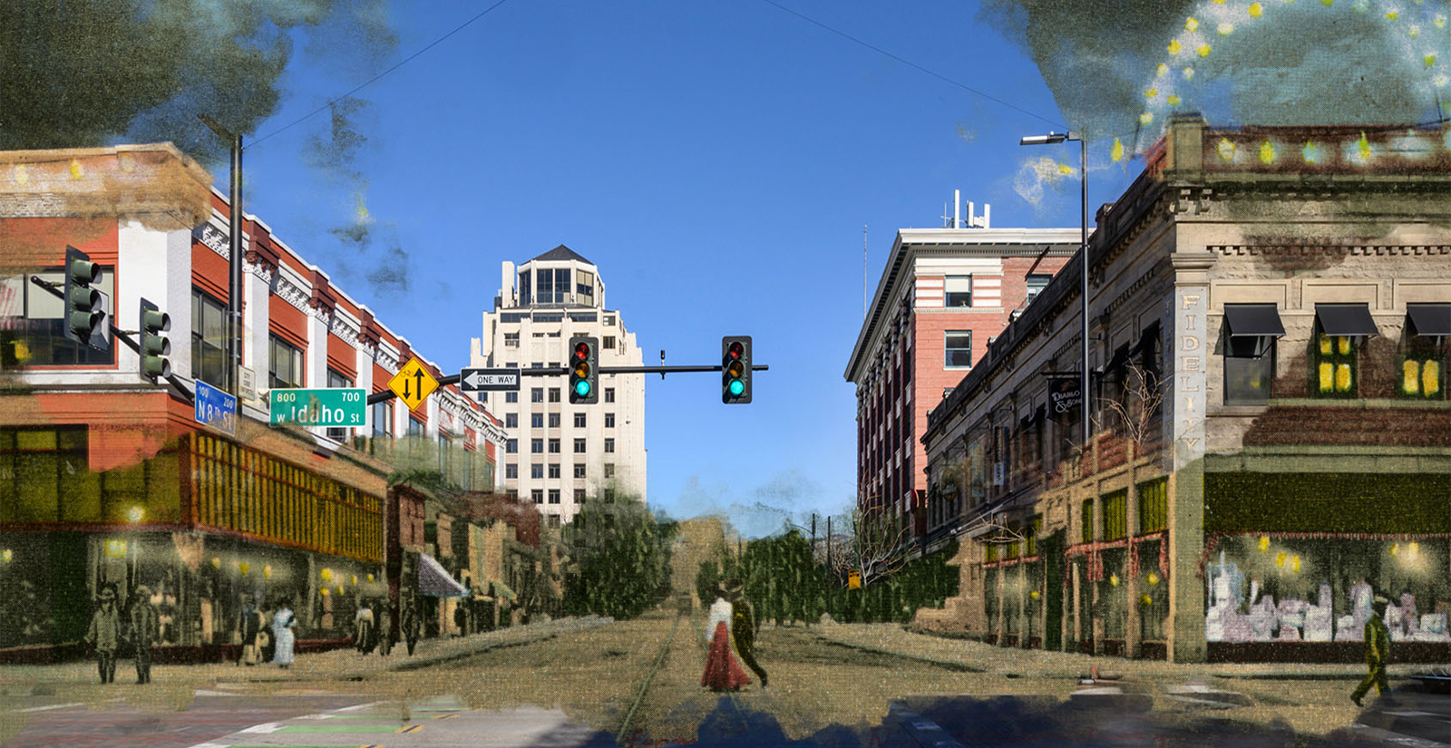 Side by side comparison of old and new Boise photos, downtown Boise street