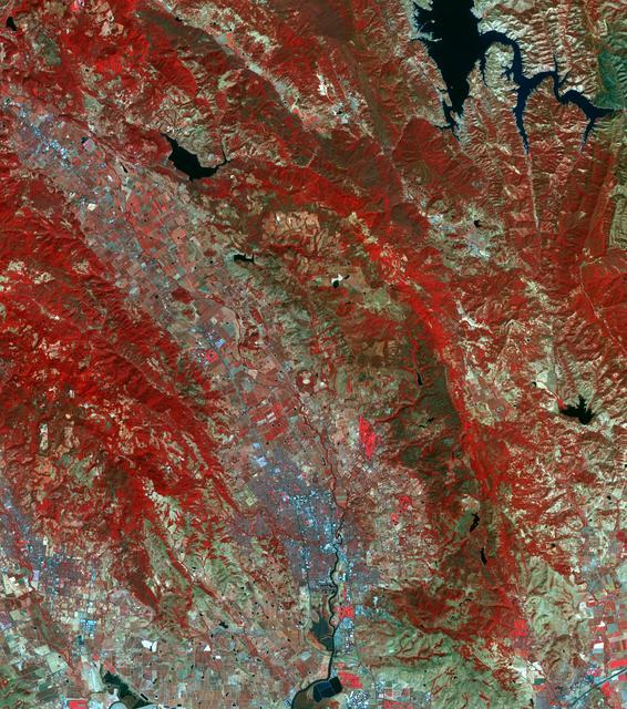 Aerial image of fires devastating California in 2017