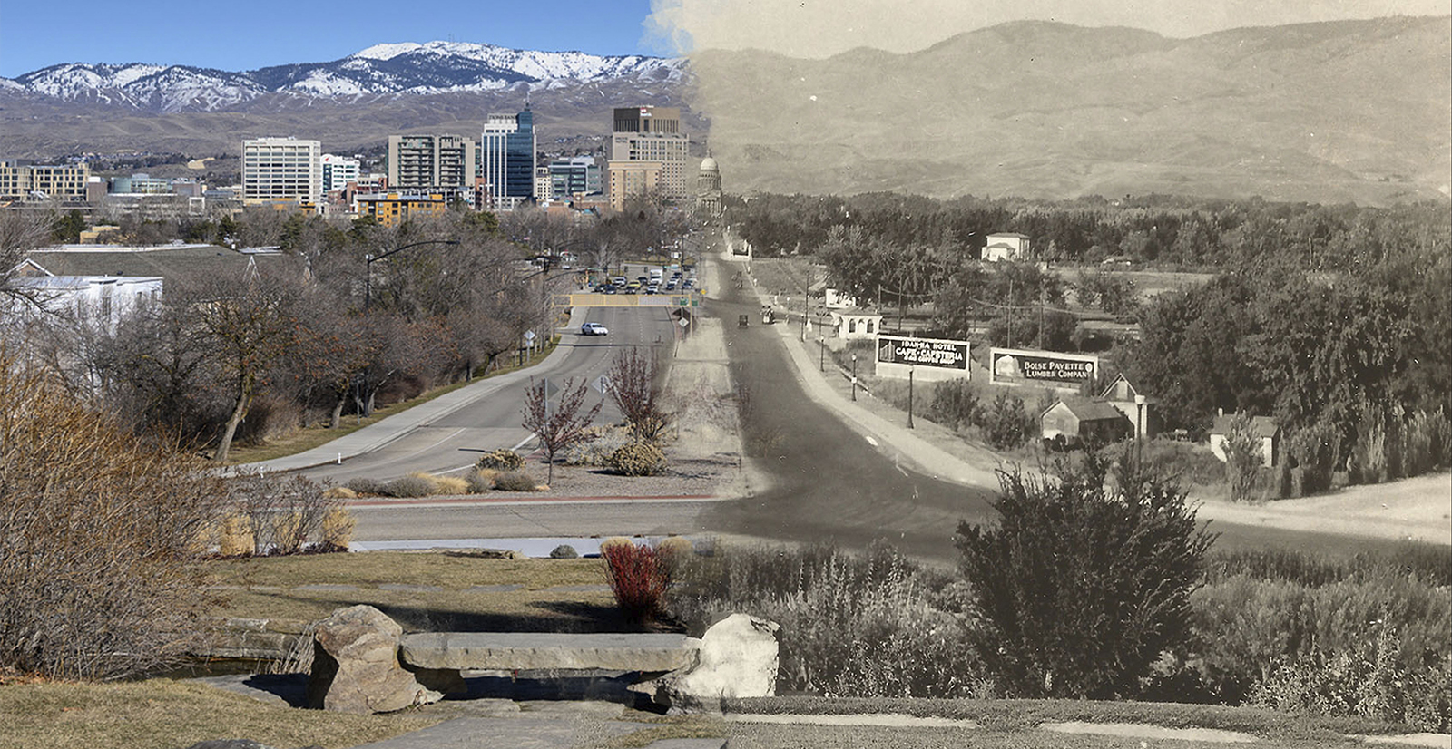 Side by side comparison of old and new Boise photos, capitol blvd