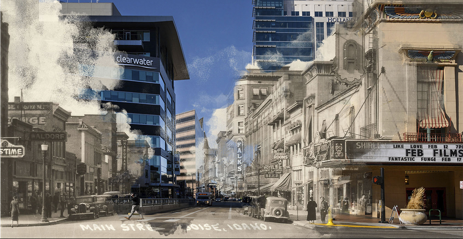 Side by side comparison of old and new Boise photos, downtown
