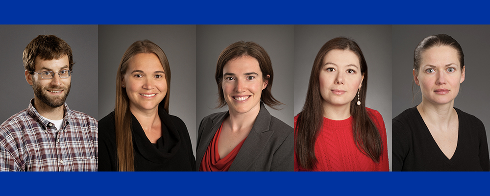 Banner of photos of five engineering faculty to receive CAREER Awards