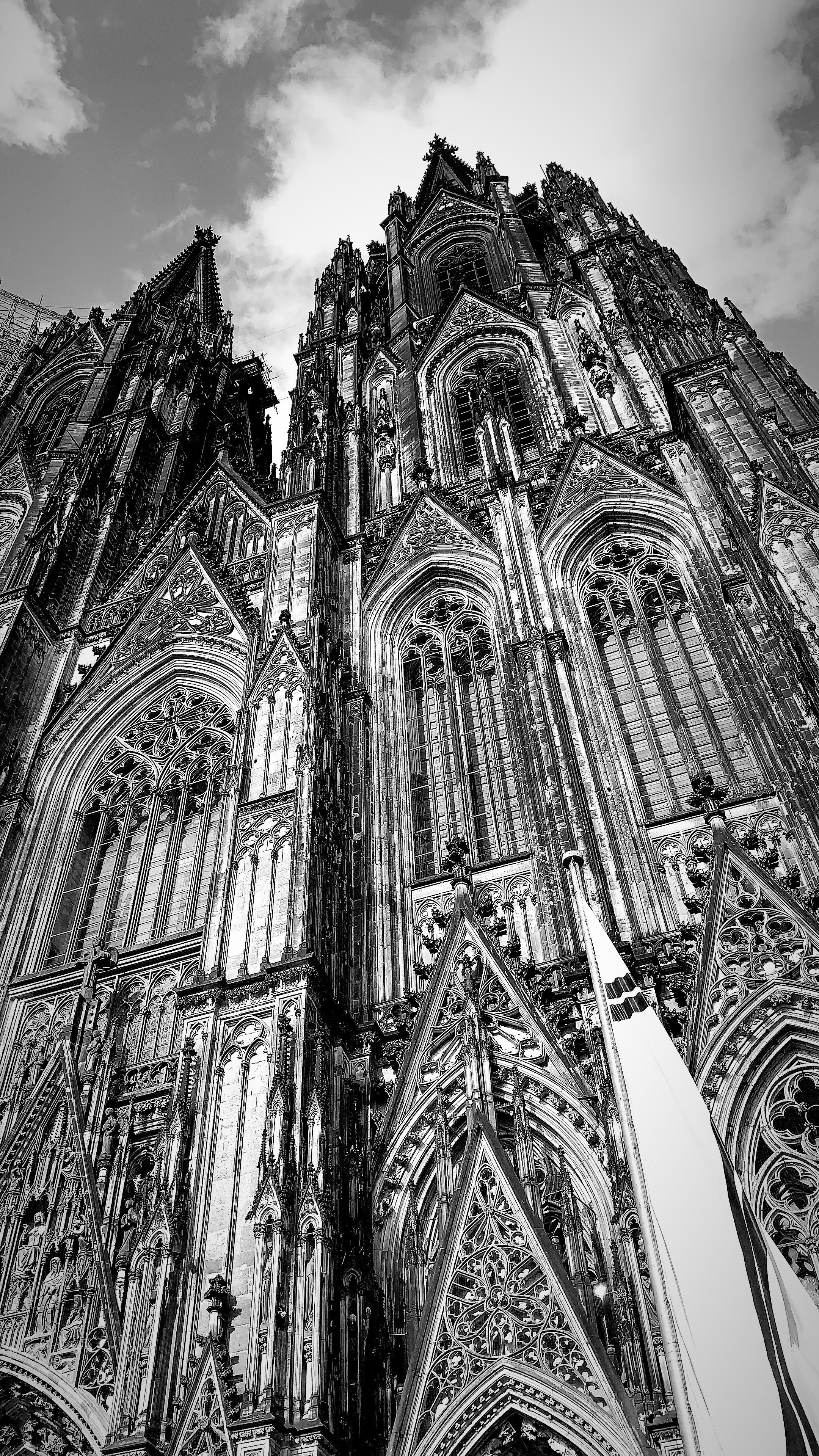 Looking up at cathedral, black and white