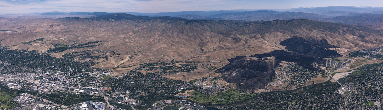 Panorama of fire devastation