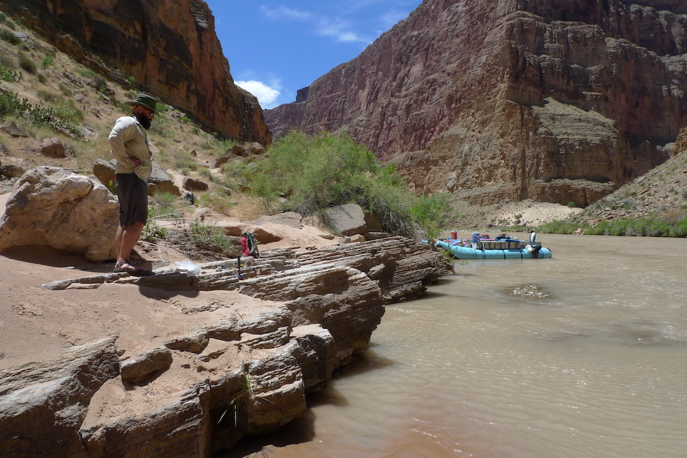 Photo of boat in Colorado river in Grand Canyon