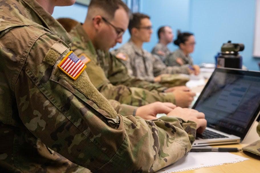 ROTC students at computers