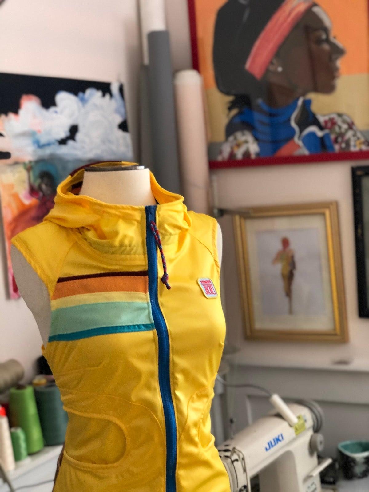 Custom garment, a sleeveless jacket