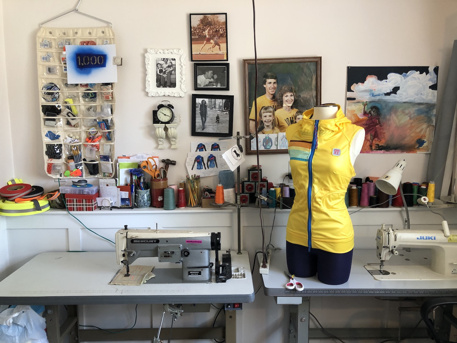 Vander Neut's home studio, complete with sewing machines and family photos