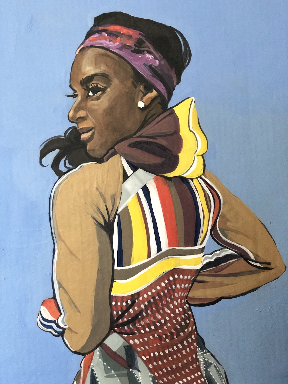 A painting of a person wearing a custom garment