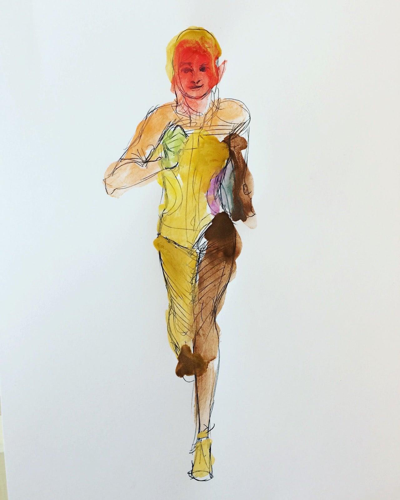 Watercolor art of a jogger