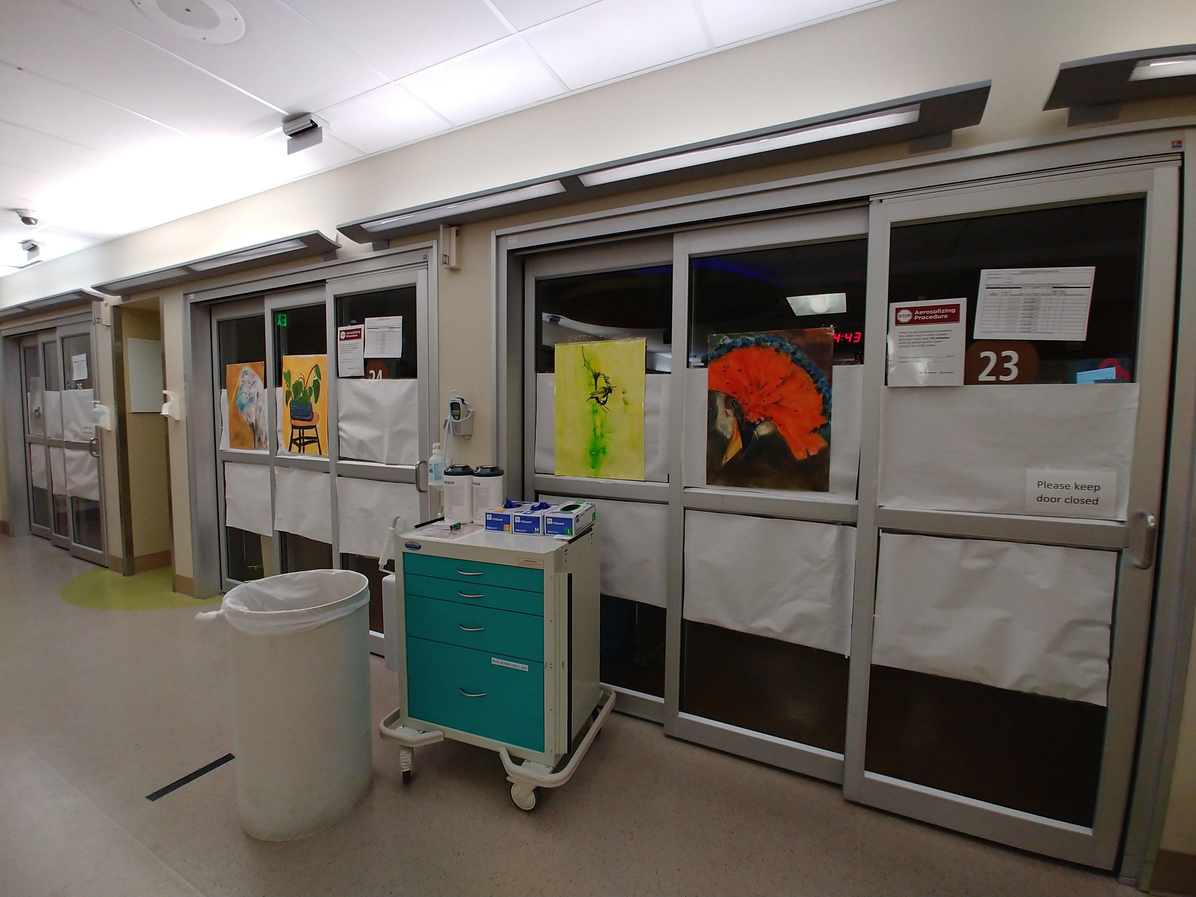 hospital doors with art