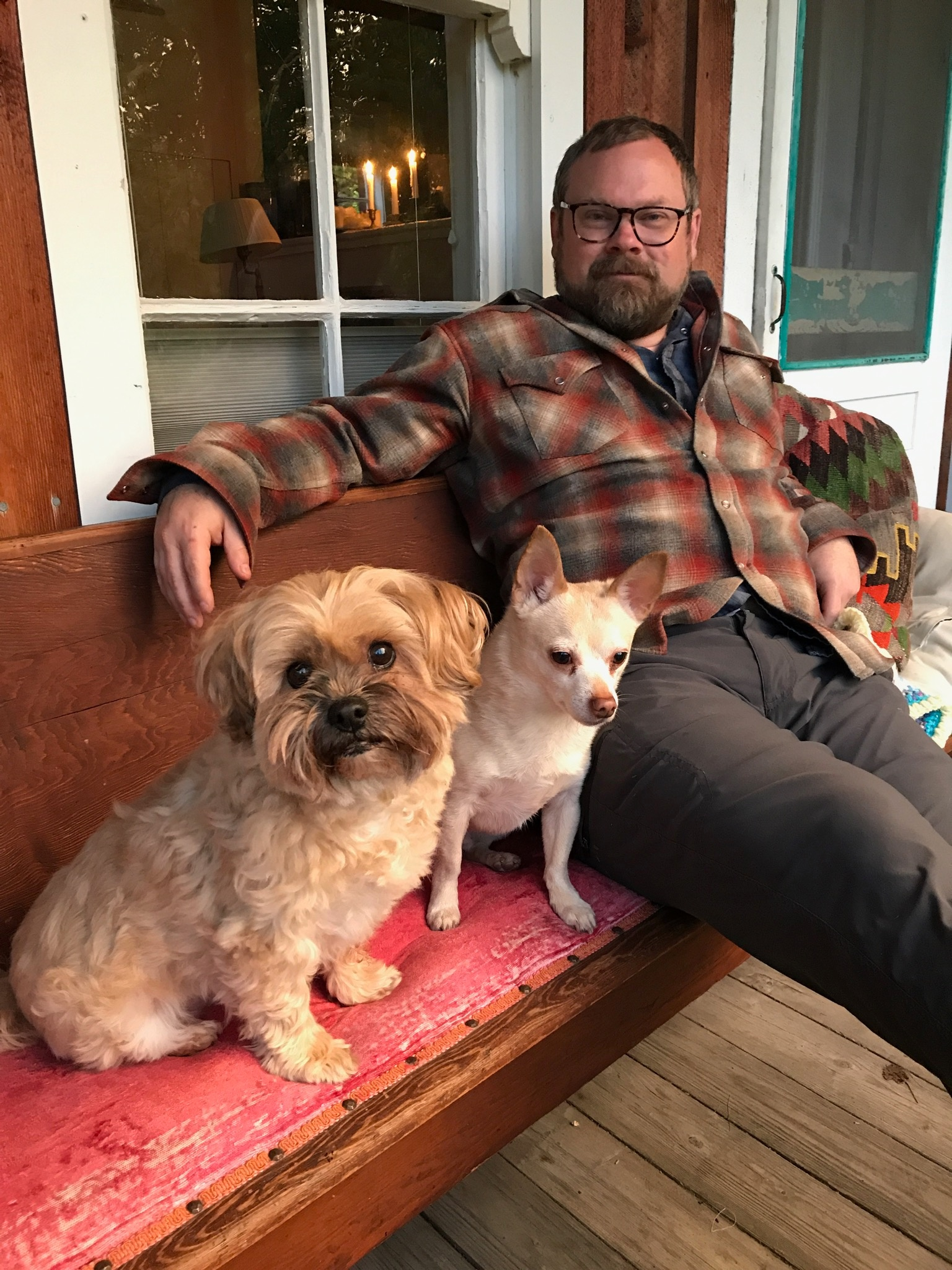 Man sits on bench with two dogs
