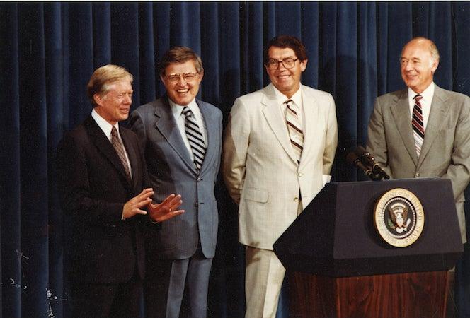 President Jimmy Carter, Senator Frank Church, Governor John Evans, Secretary of the Interior Cecil Andrus