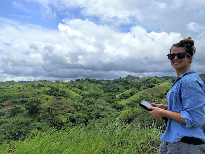 Boise State Graduate Student Cristina Barber, collecting data on tropical forest habitat in Panama.