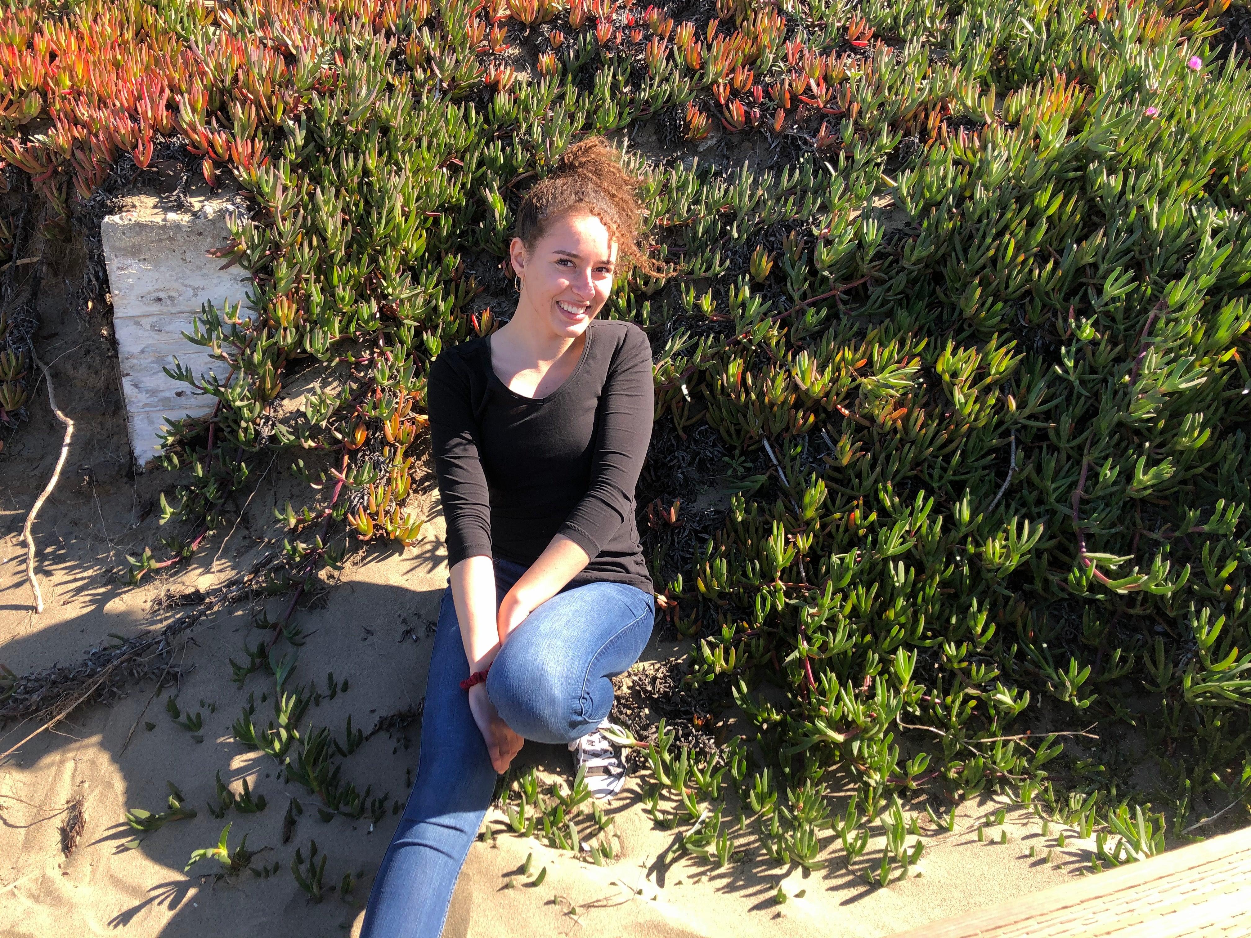 Hanna siting in garden