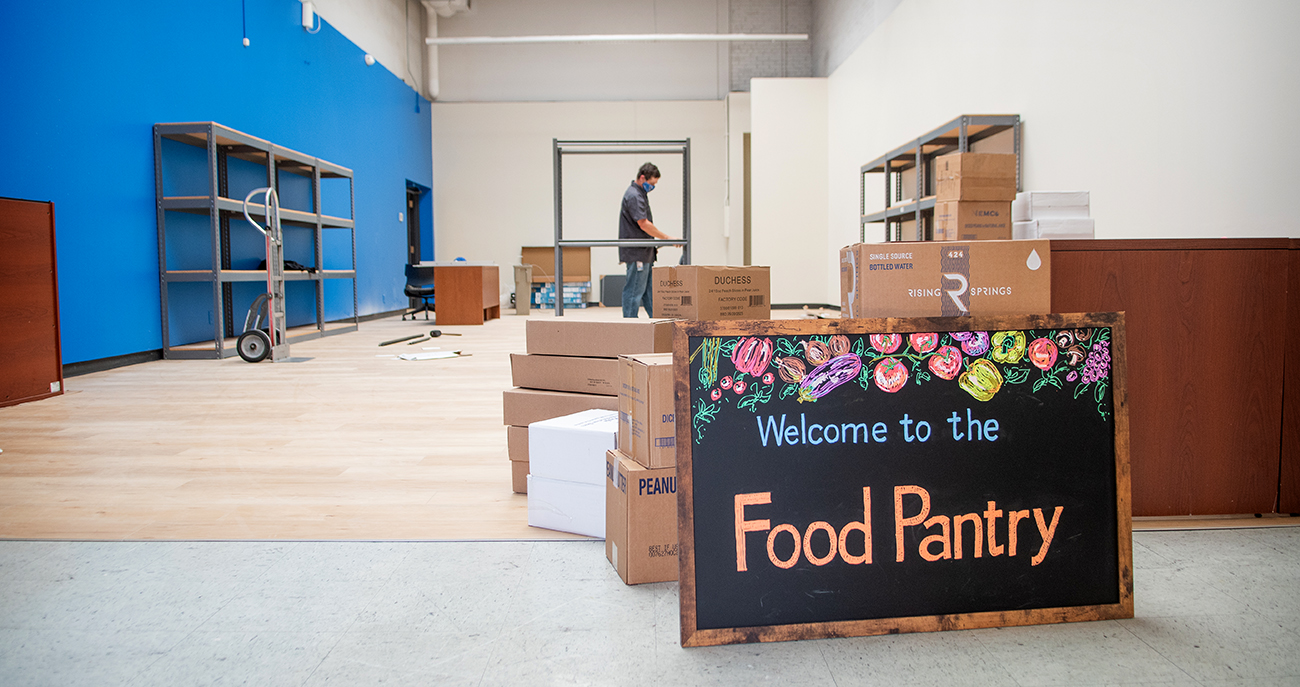 The Food Pantry being assembled