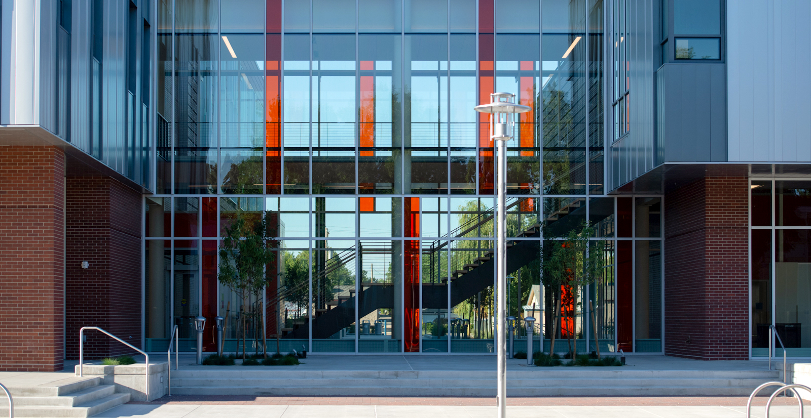 Close up view of large glass windows on front of Materials Research building