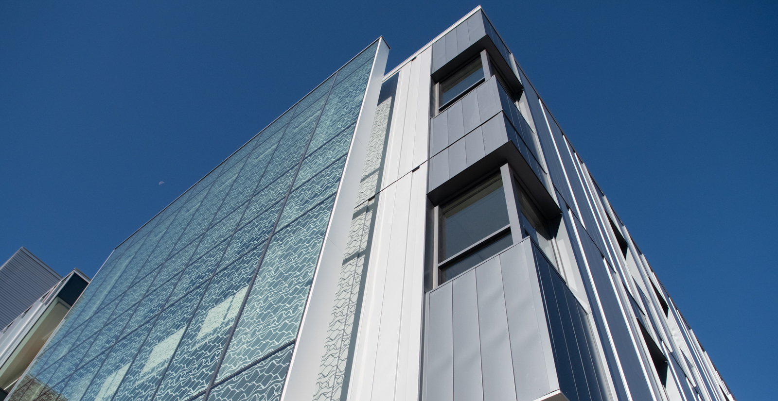 Underside view of corner of Micron Center for Materials Research