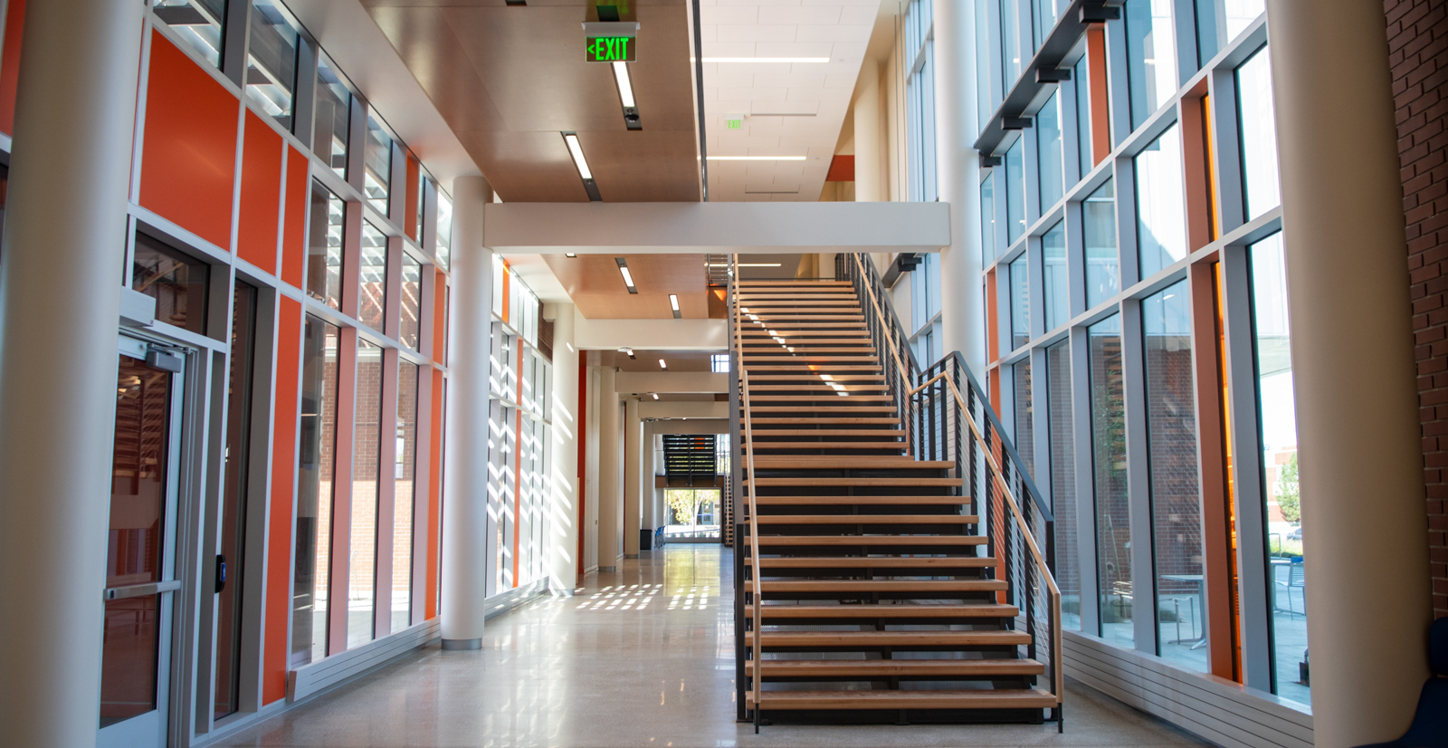 View of hallway and staircase inside the Materials Research building