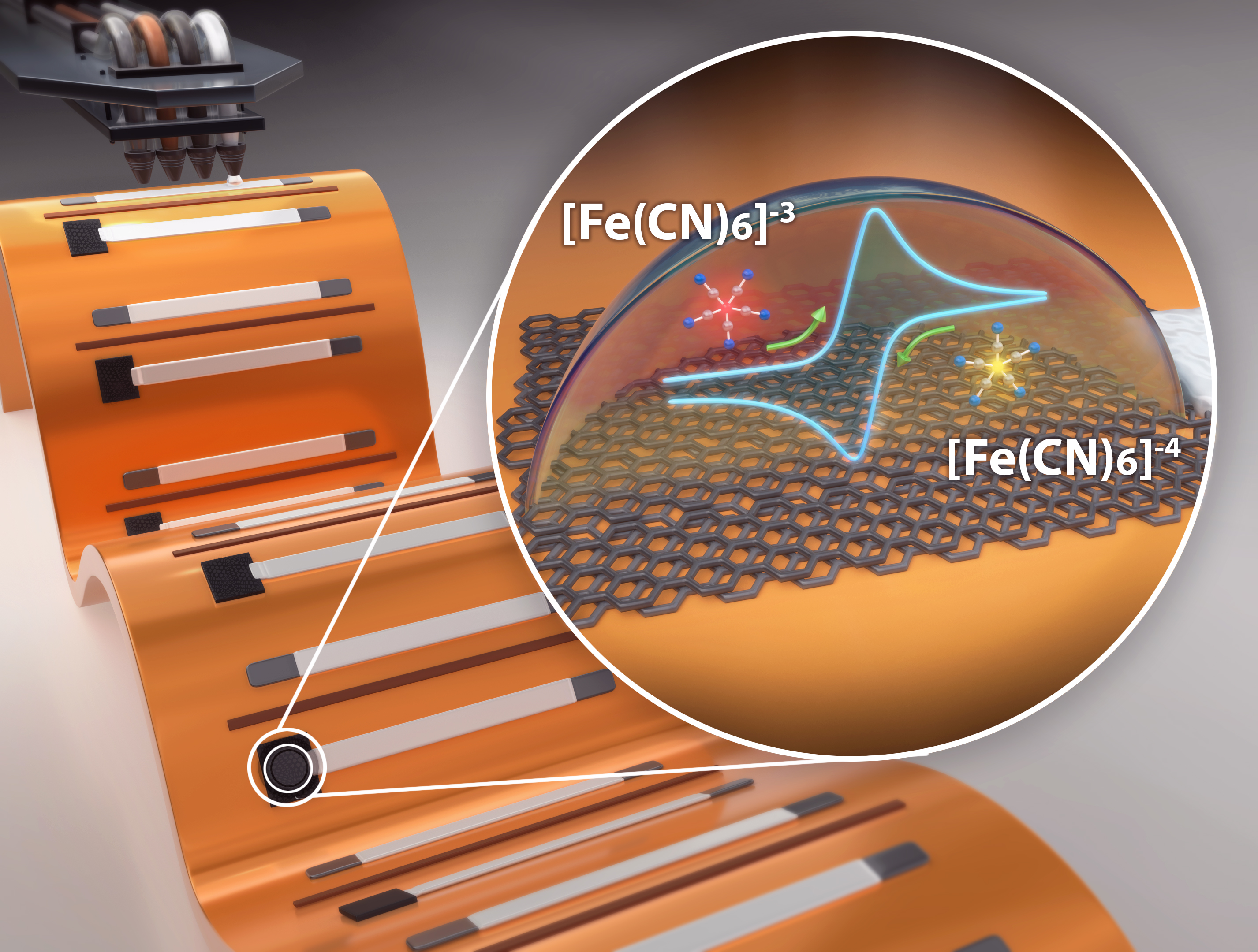 Graphic design visualization of printed graphene electrodes being bent on flexible substrate