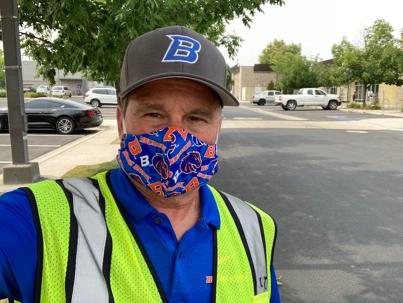Man in facial covering