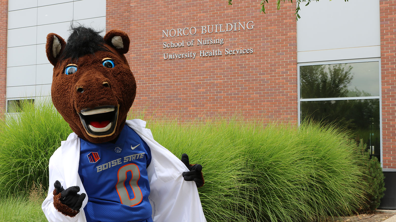 Buster Bronco in front of the Norco Building