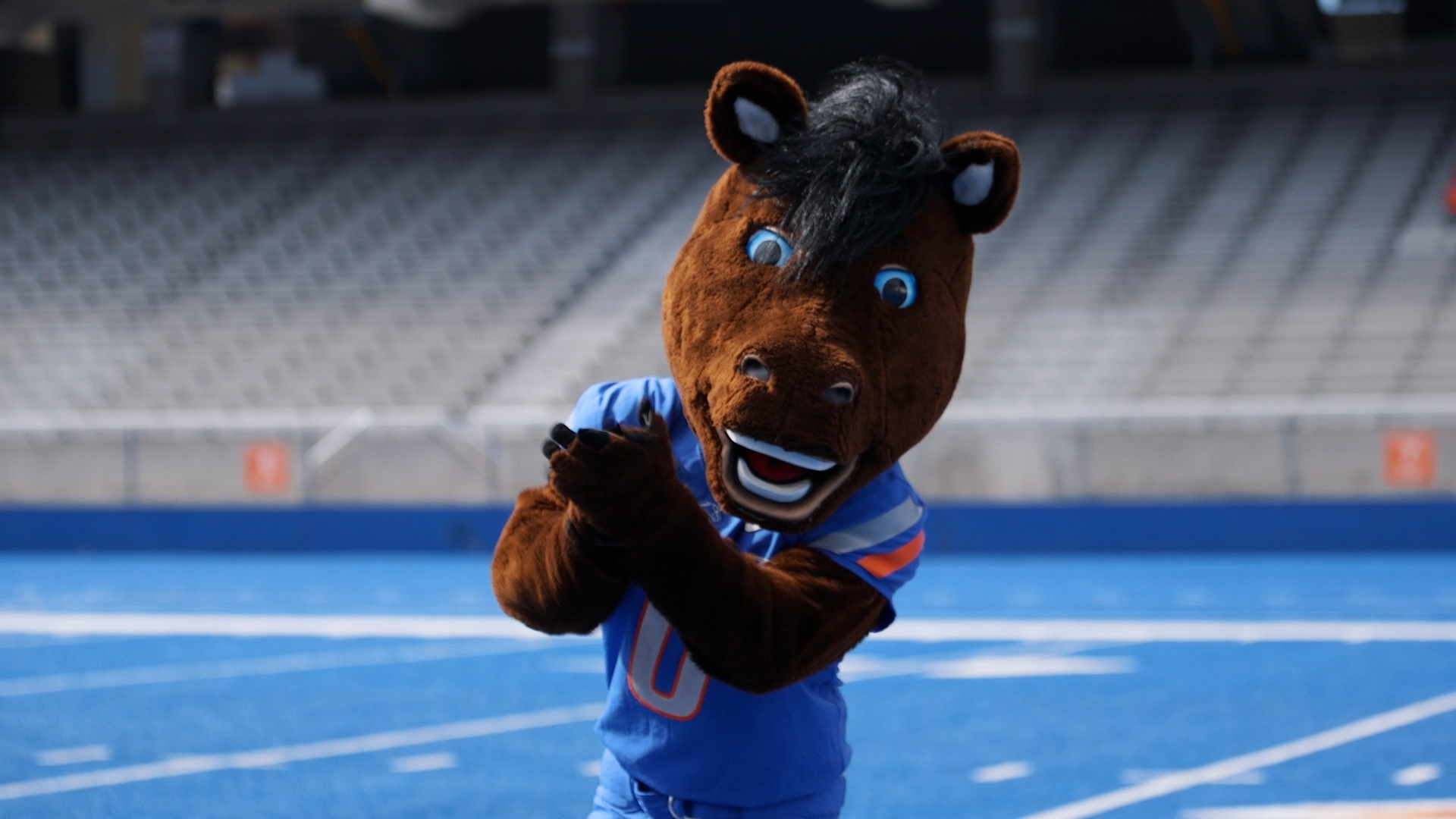 Mascot Buster Bronco on the blue turf