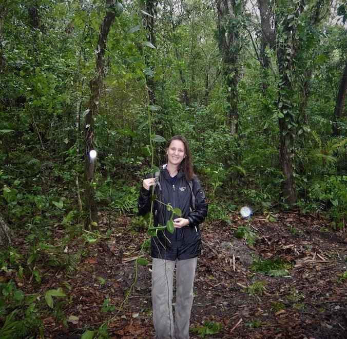 Paige standing in jungle holding vanilla vine