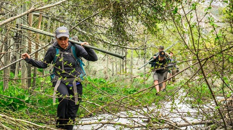 two people hike through wilderness with equipment