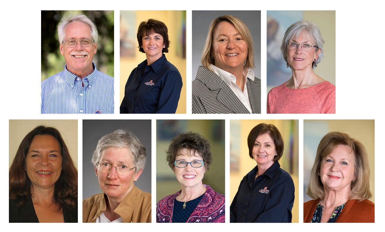 College of Health Sciences Retirees: Top row, left to right: Lonny Ashworth, Becky Bunderson, Cynthia Sanders, Karen Godard. Bottom row, left to right: Sonja Enger, Janet Reis, Nancy Loftus, Kim Copeland, Kathy Anderson