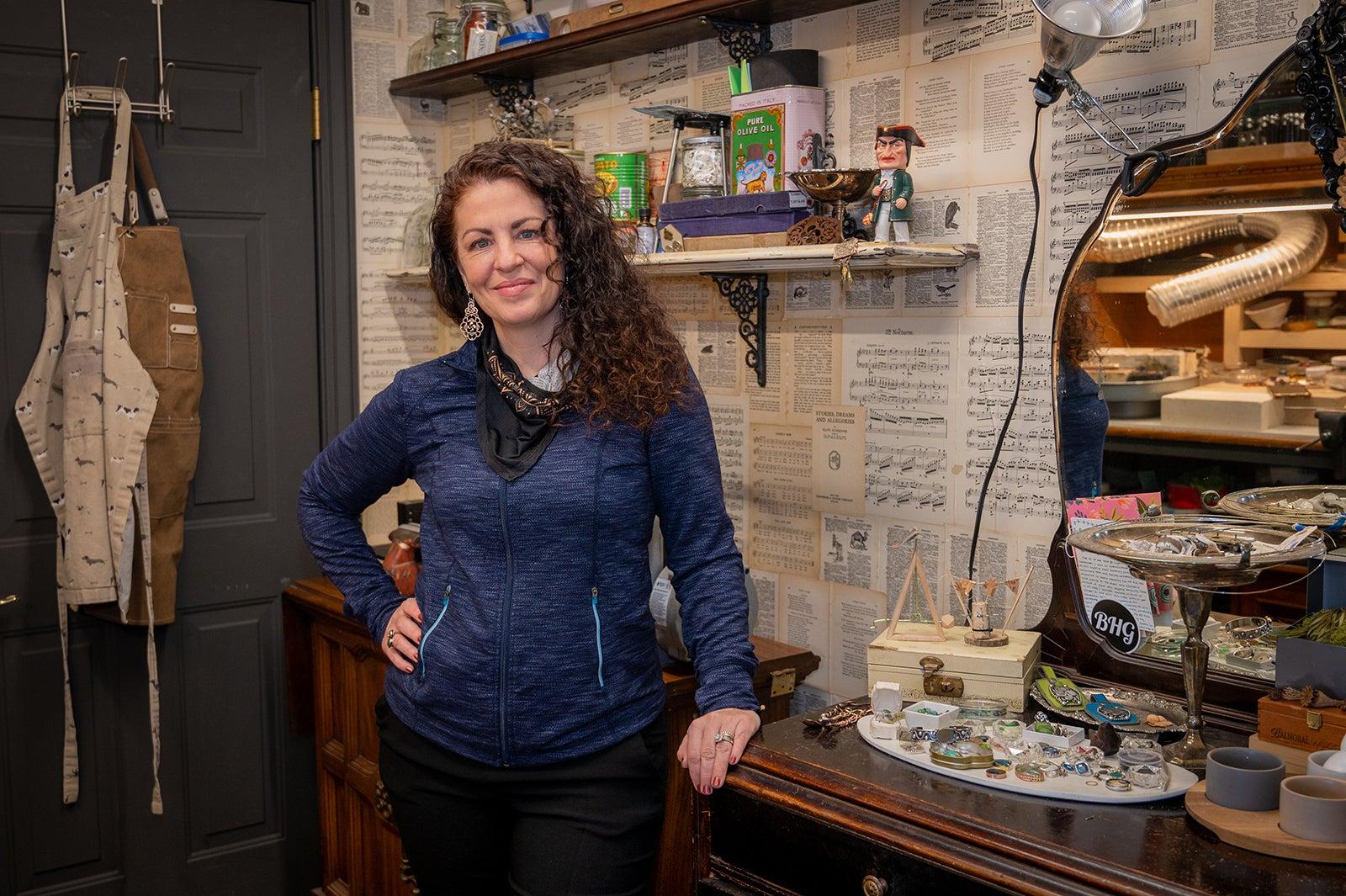 Portrait of Maite Iribarren-Gorrindo in her art studio