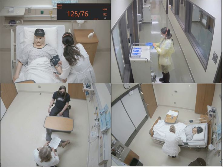 Image is divided into four quarters. Quarter one: a nurse taking a mannequin's blood pressure, with the blood pressure value displayed for the viewer in the upper right corner. Quarter 2: A nurse applies personal protective equipment from a cart in a hospital hallway. Quarter 3: A nurse takes notes in a notebook and sits across a table from a patient in a consultation room. Quarter 4: A nurse adjusts bedding for a mannequin patient.