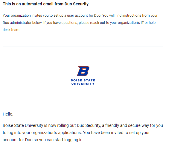 Duo Enrollment Email