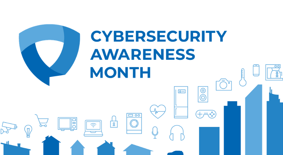National Cyber Security Awareness Month Logo with pictures of buildings and technology icons