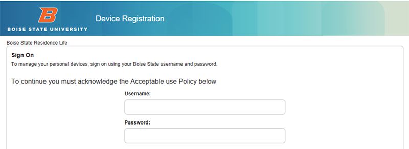 Device Registration Screenshot