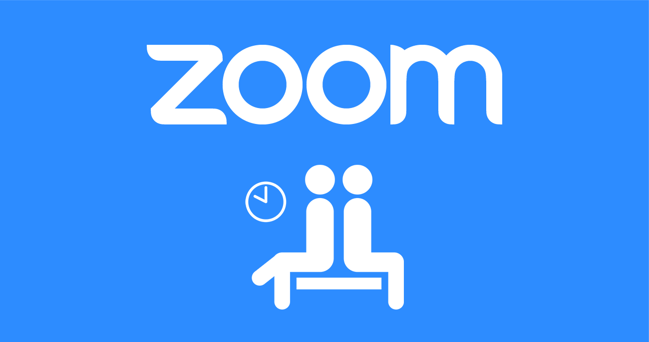 Zoom video conferencing software logo and an icon illustration of two people in a waiting room with a clock in the background.
