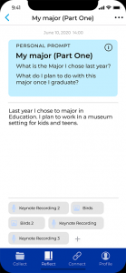Storyboard App screenshot of entering a response to a prompt: What is the major I chose last year??