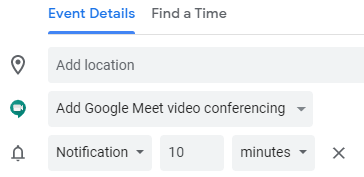 Google Meet in Calendar