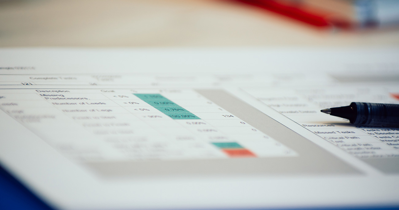 Data table report with statistical information
