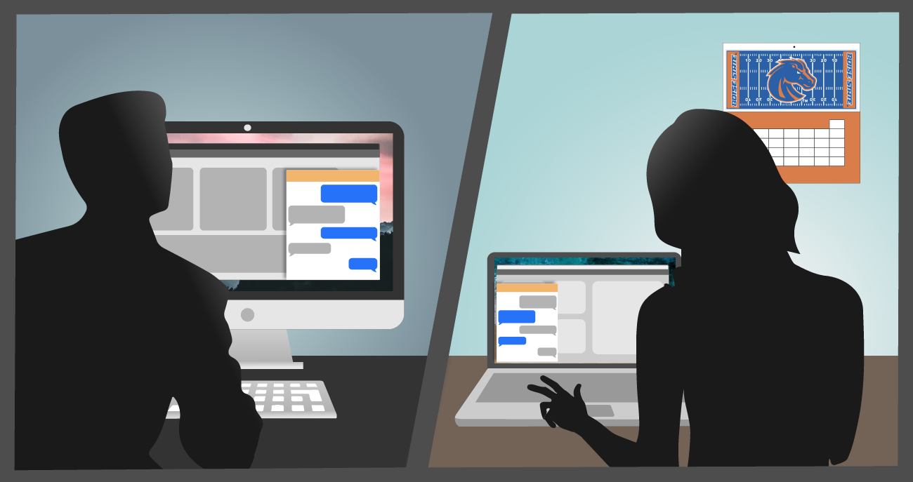 Silhouettes of a representative using web chat with a customer