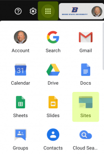App Launcher in Gmail with Sites icon highlighted
