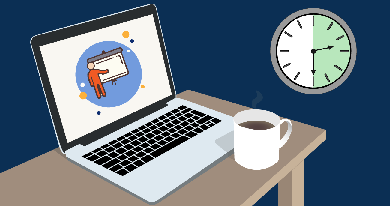Laptop with clock showing 30 minute timespan