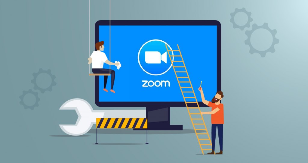 Zoom logo with a wrench and person on ladder performing upgrades
