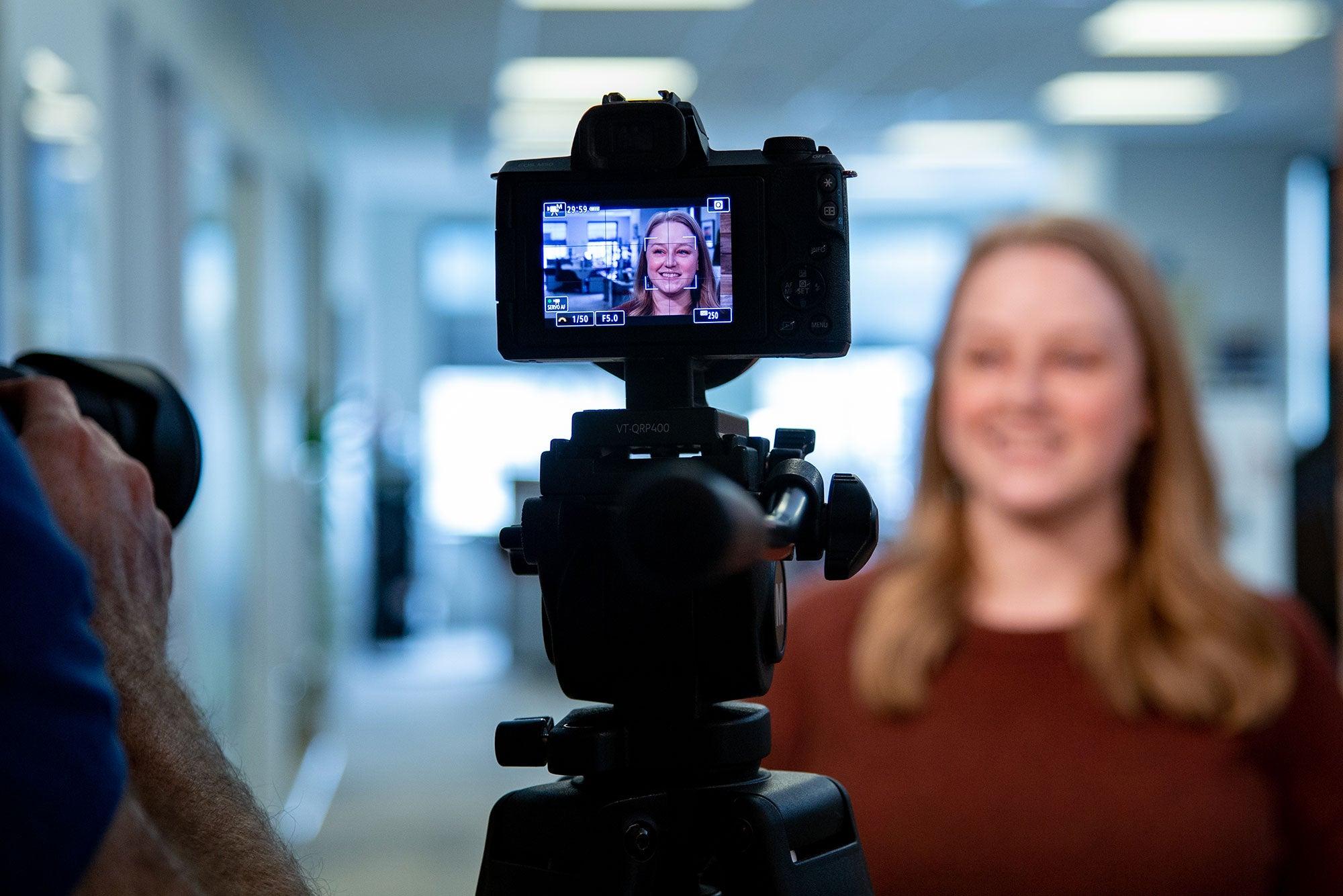 PR professional Julie Chigbrow, on camera.