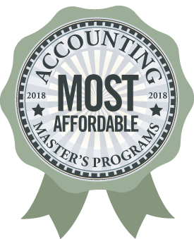 Badge, Accounting Most Affordable Online Masters Programs 2018-19