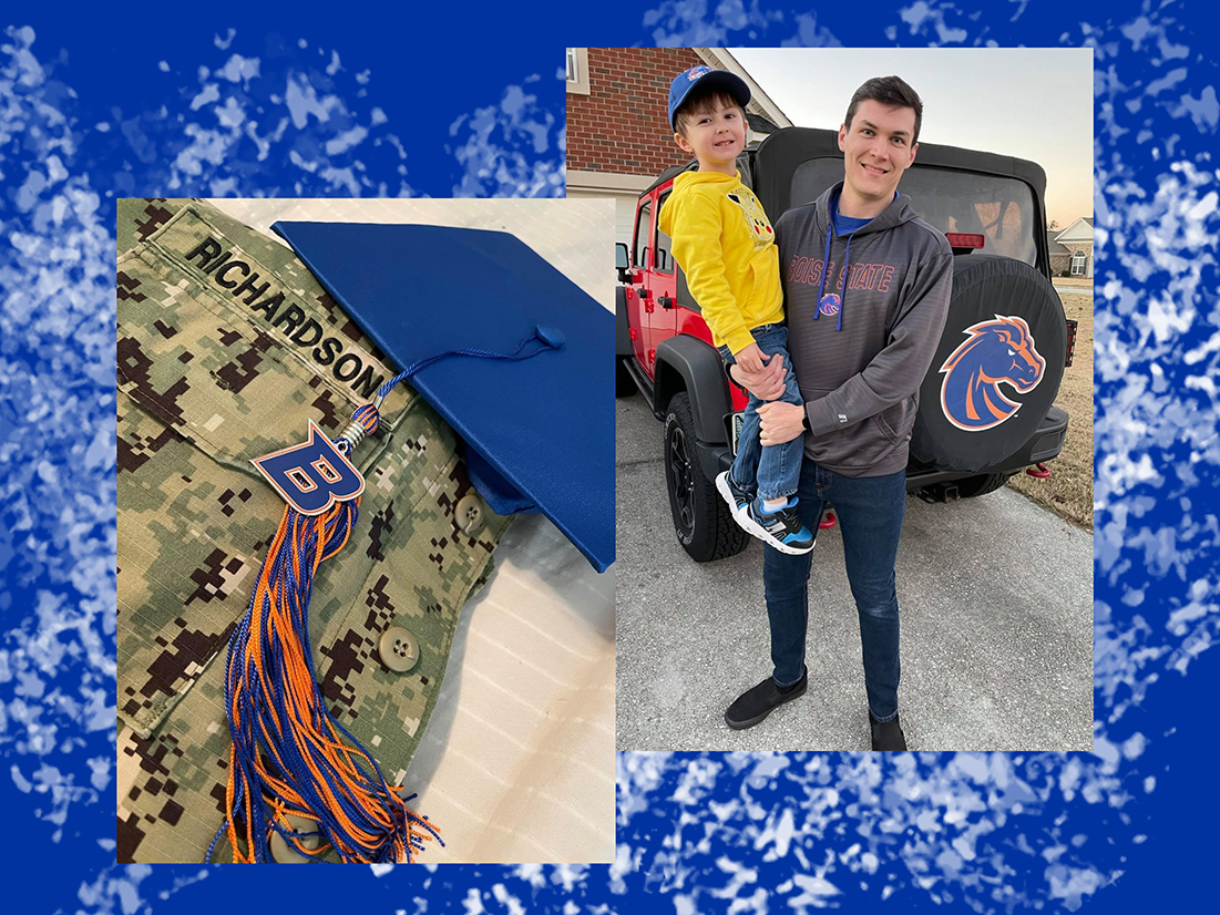 One photo of a military uniform with a graduation cap and another photo of Austin Richardson with his young son.